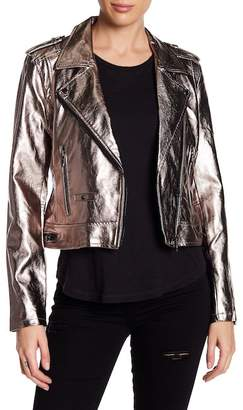 BLANKNYC Denim Metallic Faux Leather Moto Jacket