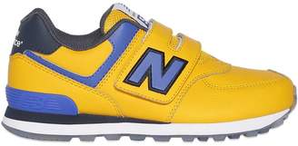 New Balance 574 Faux Leather & Mesh Sneakers