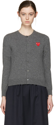 Comme des Garçons Play Grey Wool Heart Patch Cardigan $390 thestylecure.com