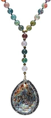 Avah and Ella Jelly Bean Abalone Shell Pendant Indian Agate Beaded Chain Drop Necklace