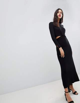 Asos Design Maxi Dress With Long Sleeve And Cut Outs