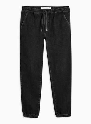 Topman Mens Wash Black Skinny Cuffed Jogger Jeans