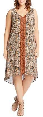Karen Kane Plus Floral Stripe High/Low Dress