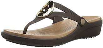 Crocs Women's Sanrah Hammered Met Wedge Flip Sandal