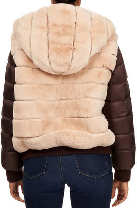 Gorski Rabbit Fur & Puffer Sleeve Hooded Jacket