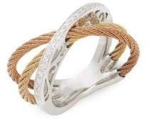 Alor 18K Gold, Stainless Steel & Diamond Ring