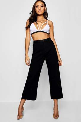 boohoo High Waist Cropped Straight Leg Jeans