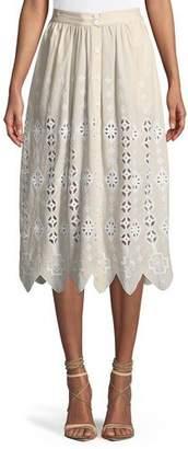 Miguelina Carolyn Vintage Geometric Eyelet Midi Skirt