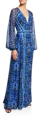 Tadashi Shoji Printed V-Neck Long-Sleeve Jersey Gown