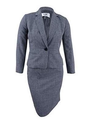 Le Suit Women's Petite Size Tonal Plaid 1 Button Skirt Suit