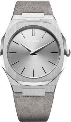 D1 MILANO ウルトラシン スエードベルト 腕時計 フェイス:シルバー ベゼル:シルバー ベルト:ライトグレー