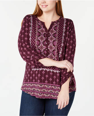 Style&Co. Style & Co Petite Mixed-Print Split-Neckline Top, Created for Macy's