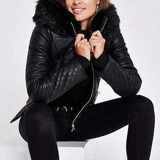 River Island Black leather faux fur hood puffer jacket