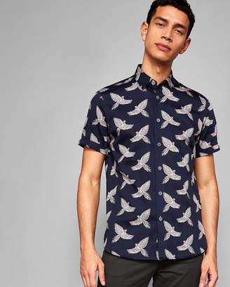 WINGUP Bird print cotton shirt