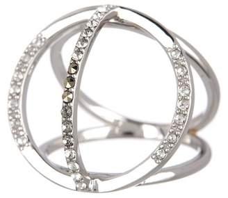 Judith Jack Sterling Silver Swarovski Open Circle Pave Ring - Size 7