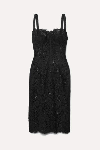 Dolce & Gabbana - Satin-trimmed Corded Lace And Tulle Midi Dress - Black