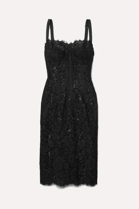 Dolce & Gabbana Satin-trimmed Corded Lace And Tulle Midi Dress - Black