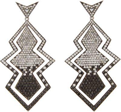 "Black Diamond Deborah Pagani Grey Diamond, & White Gold ""Joan"" Drop Earrings"