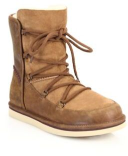 UGG Lodge Sheepskin-Lined Leather & Suede Lace-Up Boots $200 thestylecure.com