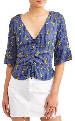 Self Esteem Juniors' Printed Rayon Gauze Ruched Front Ruffle Trim Blouse