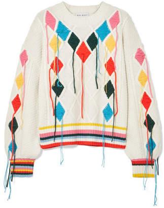 Mira Mikati Embroidered Cable-knit Sweater - Cream