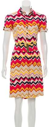 Diane von Furstenberg Silk Chevron Print Dress