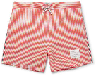 Thom Browne Short-Length Striped Seersucker Swim Shorts