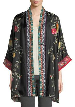 Johnny Was Rose Reversible Snap-Front Silk Twill Kimono Jacket