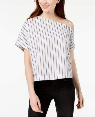Calvin Klein Jeans Striped Cotton One-Shoulder Top