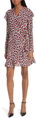 Robert Rodriguez Lena Leopard Print Faux Wrap Dress