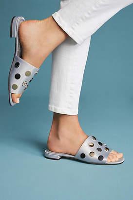 All Black Satin Studded Slide Sandals