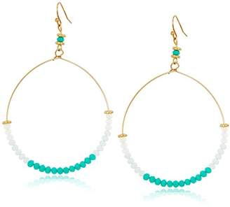 Canvas Glass Bead Hoop Drop Earrings