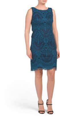 Sleeveless Chemical Lace Sheath Dress