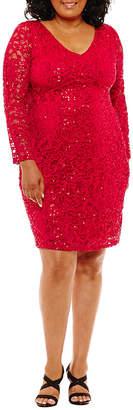 BLU SAGE Blu Sage Long Sleeve Lace Sheath Dress - Plus
