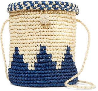 Nannacay - Two-tone Woven Raffia Shoulder Bag - Blue