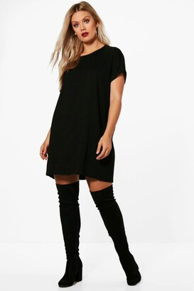 boohoo Plus Oversized Roll Up T-Shirt Dress