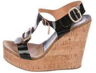 Pedro Garcia Patent Leather Wedge Sandals