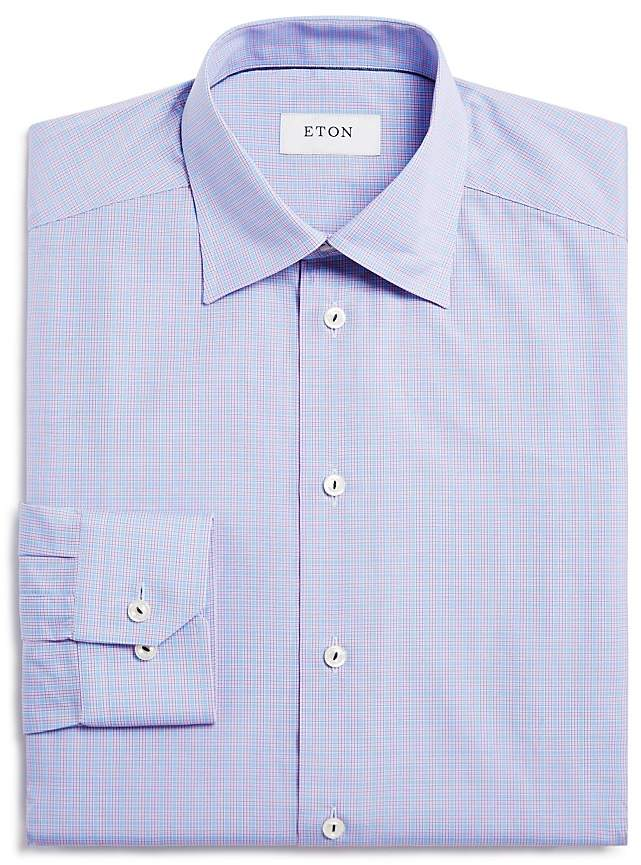 Eton Grid Check Regular Fit Dress Shirt