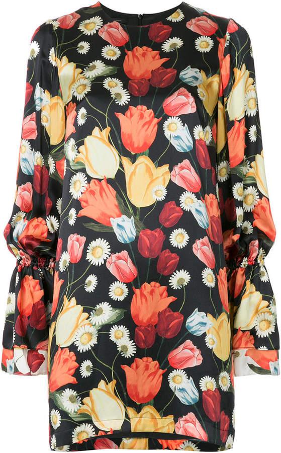 Seidenkleid mit Tulpen-Print