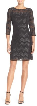 Women's Ellen Tracy Chevron Metallic Chiffon Sheath Dress $128 thestylecure.com