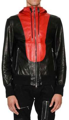 Alexander McQueen Calfskin Zip-Up Wind Jacket