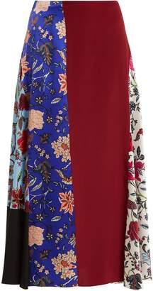 Diane von Furstenberg Contrast-panel multi-print silk-satin skirt