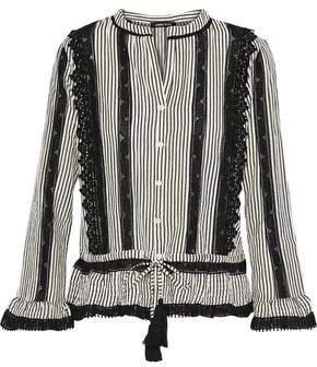 2dc4d0bbc032b9 Love Sam Crochet-trimmed Striped Cotton-blend Top