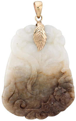 One Kings Lane Vintage Carved Jade Pendant with Leaf Bail - Precious & Rare Pieces