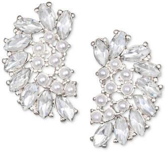 Badgley Mischka Crystal & Imitation Pearl Arch Stud Earrings