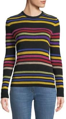 Etro Crewneck Metallic Multicolor Striped Knit Sweater