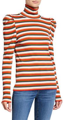 Veronica Beard Cedar Striped Puff-Sleeve Turtleneck Top