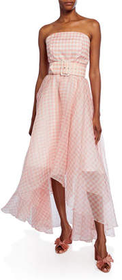 Shoshanna Dianora Checkered Strapless High-Low Belted Gown