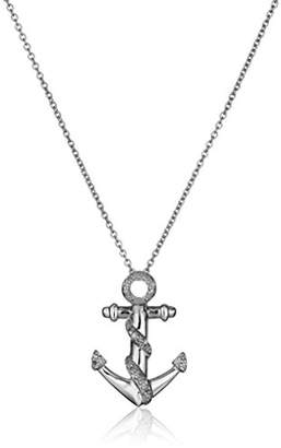 Sterling Silver Diamond Anchor Pendant Necklace (1/10 cttw