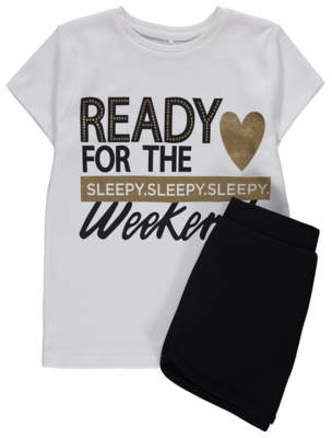 George White Foil Print Weekend Slogan Pyjamas